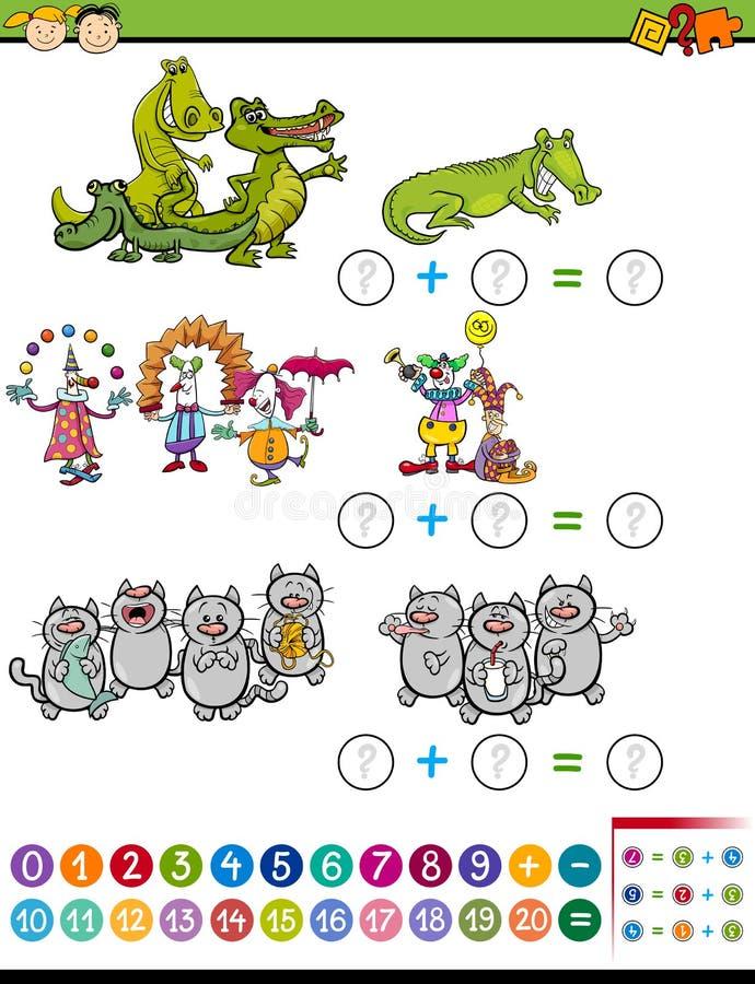 Tâche d'addition pour les enfants préscolaires illustration libre de droits