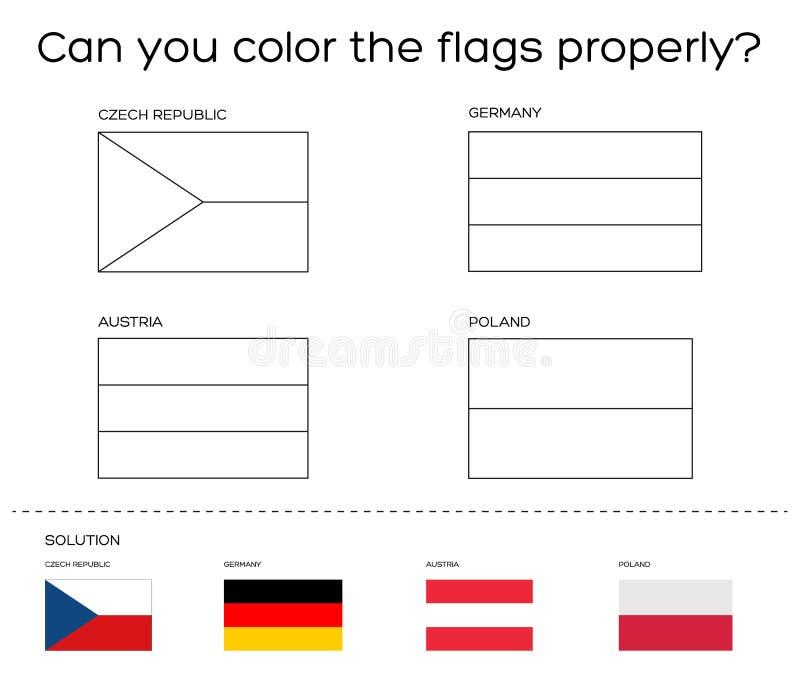 Tache De Livre De Coloriage Drapeaux Europeens Avec La Solution Illustration De Vecteur Illustration Du Tache Livre 68169409