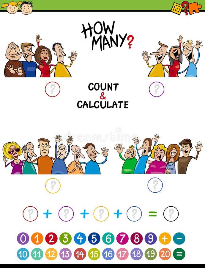 Tâche de maths pour les enfants préscolaires illustration libre de droits