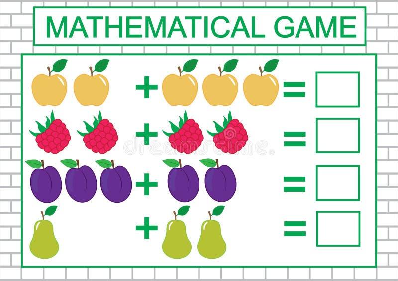 Tâche mathématique pour des enfants comptant, addition, éducation Illustration de vecteur illustration de vecteur