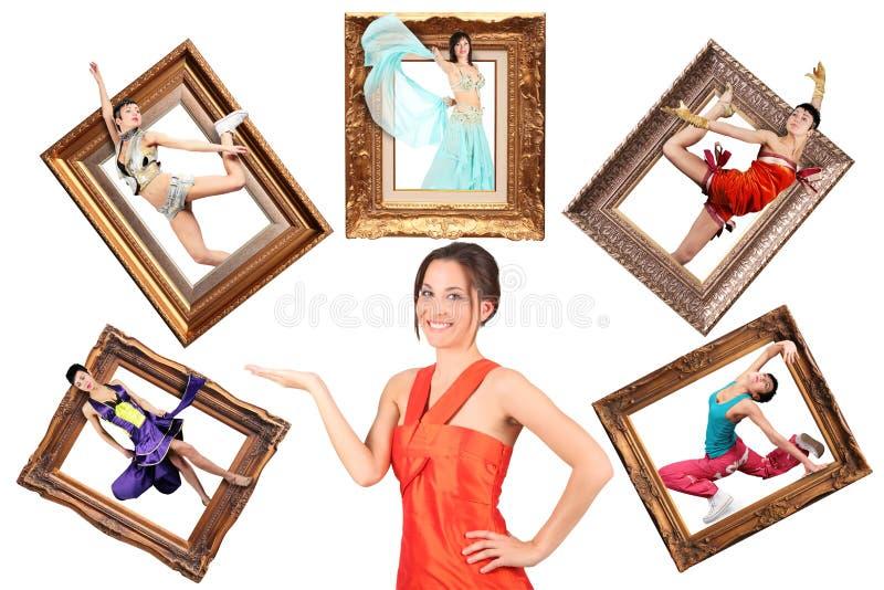 Tâche multi de showes de fille beaucoup de femmes dans le cadre de tableau photos stock