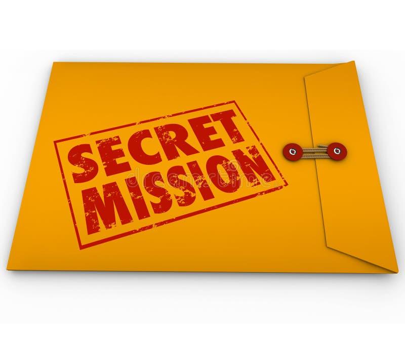 Tâche secrète Job Task d'enveloppe de jaune de dossier de mission illustration libre de droits