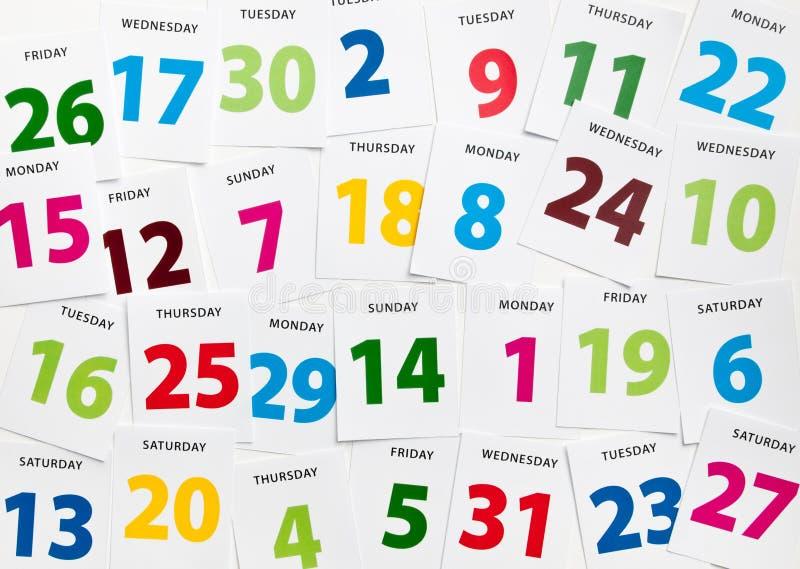 Tâmaras do planeamento do calendário foto de stock