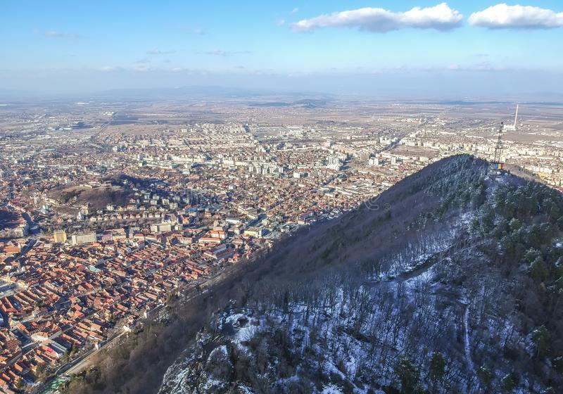Tâmpa mountain and Brasov City , winter aerial landscape stock photo