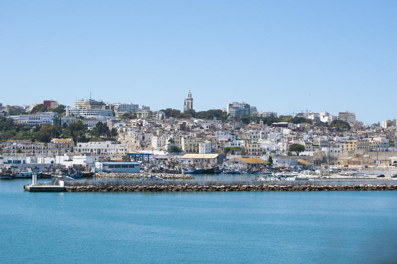 Tânger, Tânger, Tanger, Marrocos, África, Norte de África, costa de Maghreb, estreito de Gibraltar, mar Mediterrâneo, Oceano Atlâ imagem de stock
