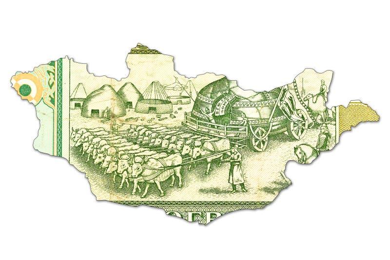 tögrögsedel för 500 mongolian i form av Mongoliet arkivfoto