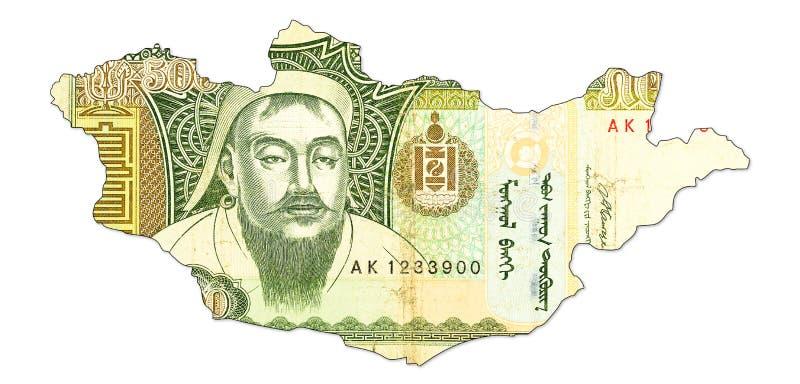 tögrögsedel för 500 mongolian i form av Mongoliet royaltyfri bild