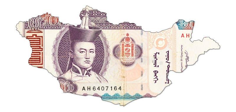 tögrögsedel för 100 mongolian i form av Mongoliet arkivfoto