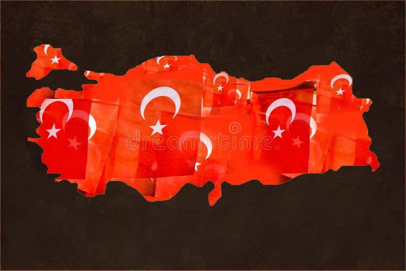 Türkische Staatsflaggefüllungen in der Karte von der Türkei auf Dunkelheit lizenzfreie stockfotos