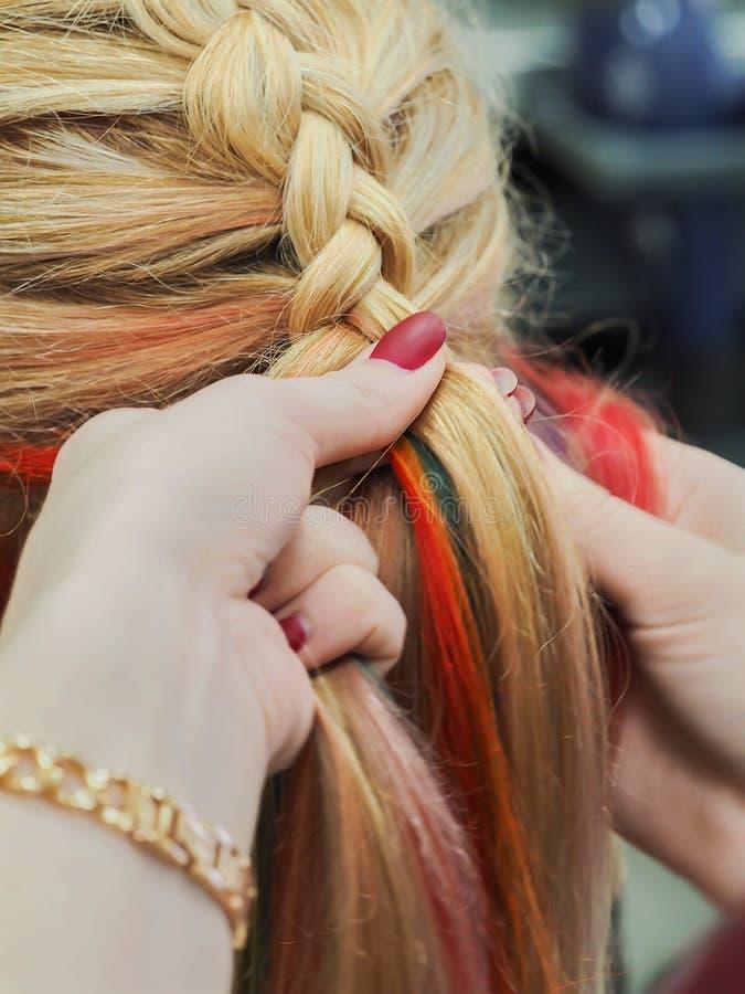 Tęcza włosy w warkoczu Splatać zamknięty w górę zdjęcia royalty free