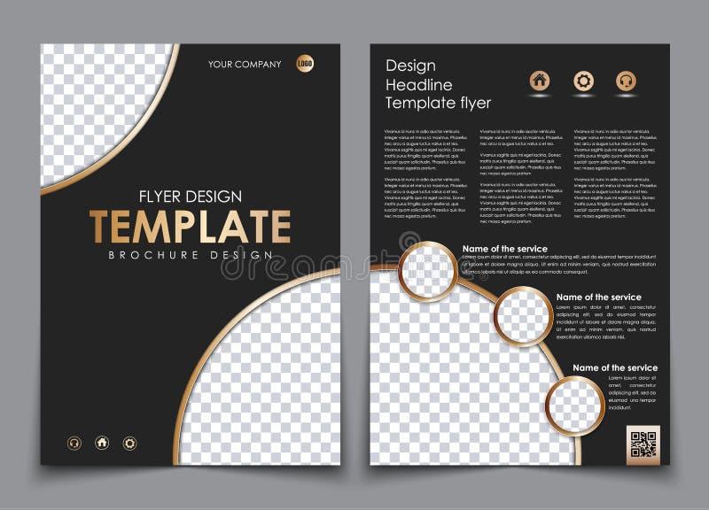 Täcka designen och baksidan av den svarta färgen med guld- beståndsdelar royaltyfri illustrationer