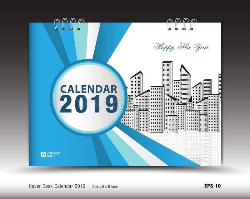 Täcka skrivbordkalendern för den 2019 år mallvektorn, bokomslagorienteringen, årsrapporten, tidskriftannonser, affärsbroschyrrekl royaltyfri illustrationer