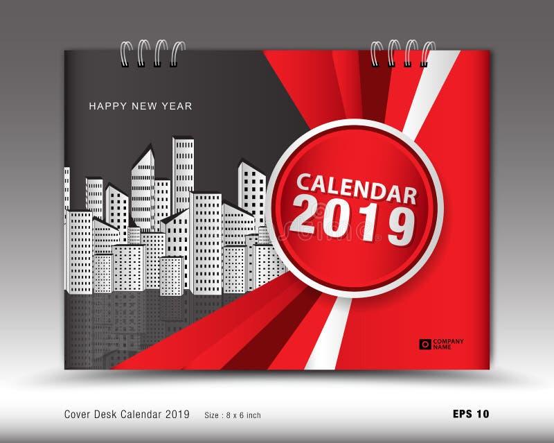 Täcka skrivbordkalendern för den 2019 år mallvektorn, bokomslagorienteringen, årsrapporten, tidskriftannonser vektor illustrationer