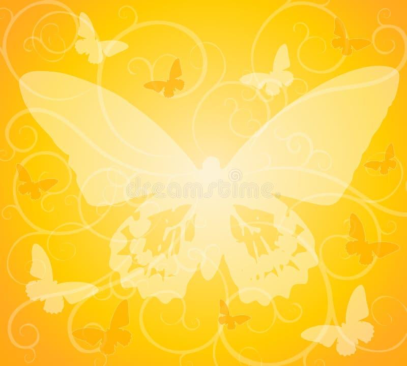 täckande bakgrundsfjärilsguld stock illustrationer