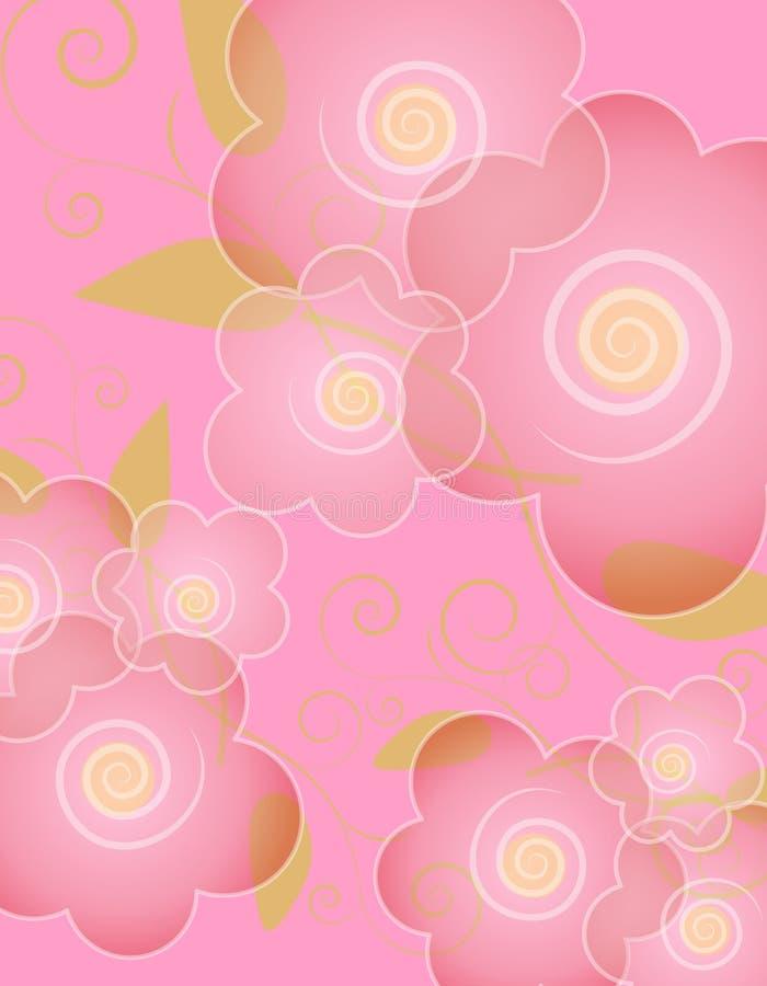 täckande rosa fjäder för bakgrundsblomma royaltyfri illustrationer