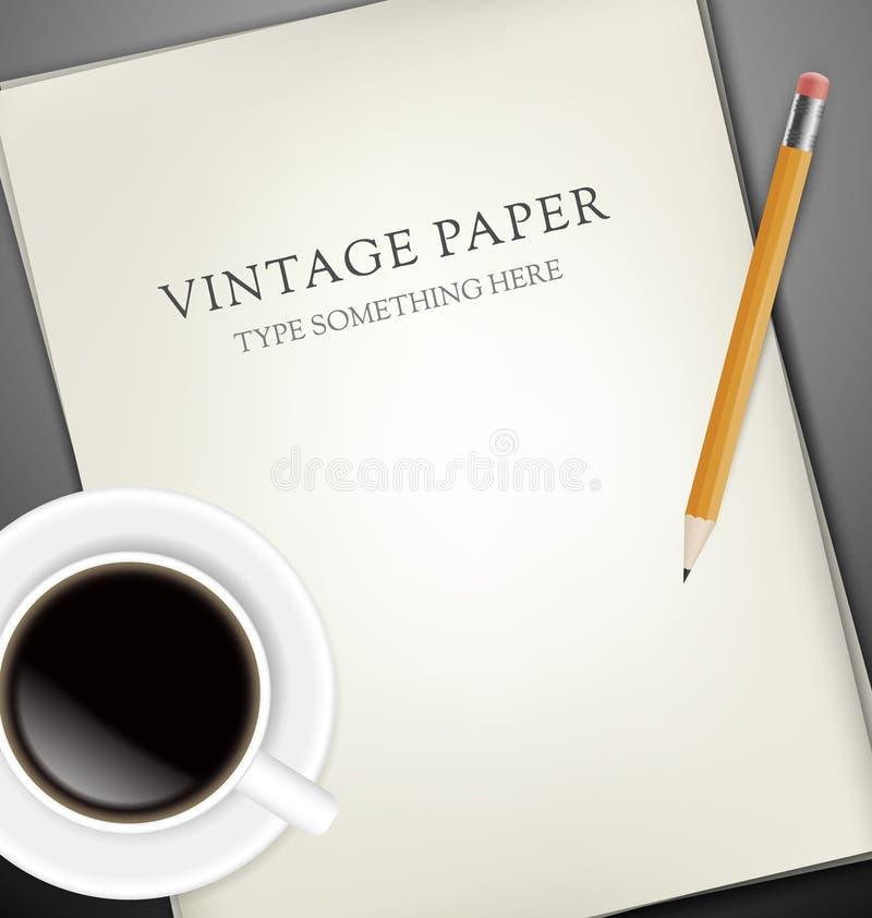 Täcker Av Pappers-, Pecin Och Kuper Av Kaffe Royaltyfri Foto