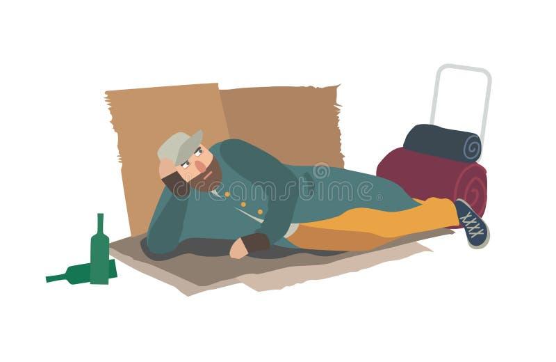 Täcker iklädd trasig kläder för den hemlösa mannen som ligger på papp, på jordning Luffare, lodis, slampa eller luffare Person in stock illustrationer