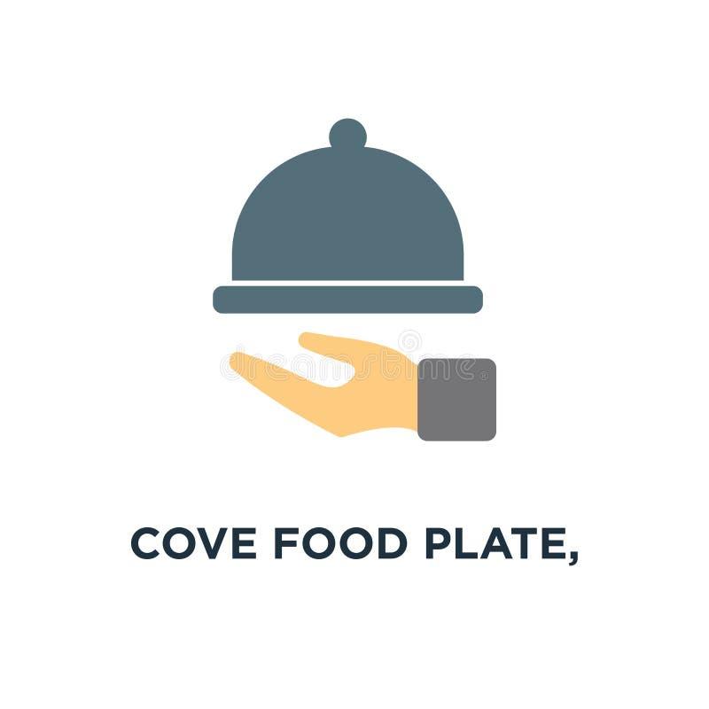 täckt matplatta, symbol för magasin för matrestaurangportion matställematrätträkning, uppassare som sköter om begreppssymboldesig royaltyfri illustrationer