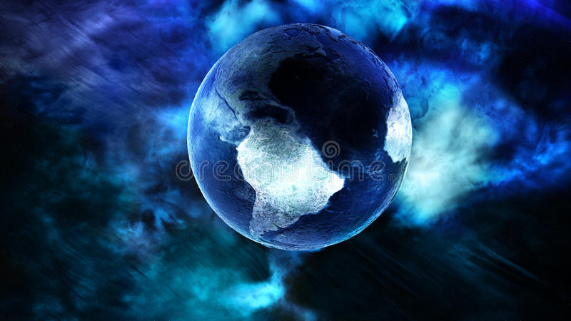 Is täckt planetjord i kallt utrymme royaltyfri illustrationer