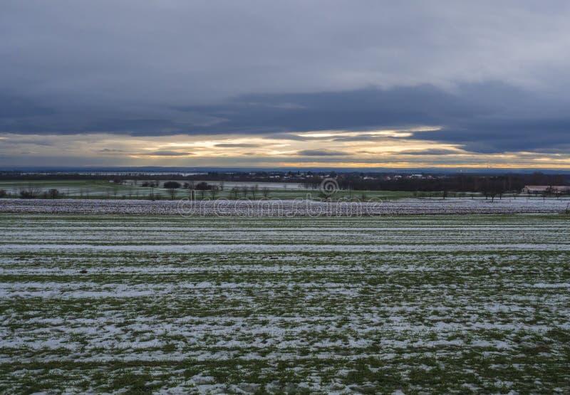 Täckte det lantliga landskapet för vintern med grön snö fält, kala träd och byhus på orange solnedgångljus centralt royaltyfri fotografi