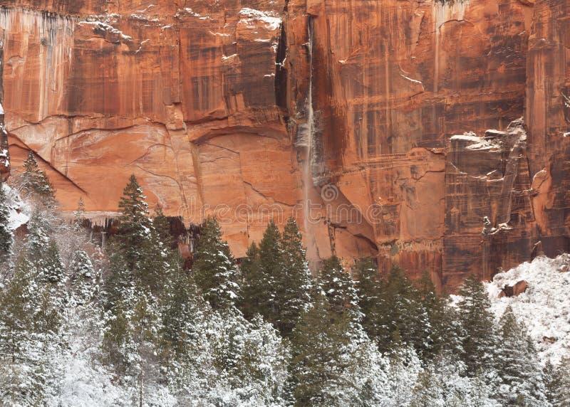Täckte sörjer smala strömmar för en vattenfall ner en klippaframsida för röd sandsten framme av snö kullar och träd arkivbild