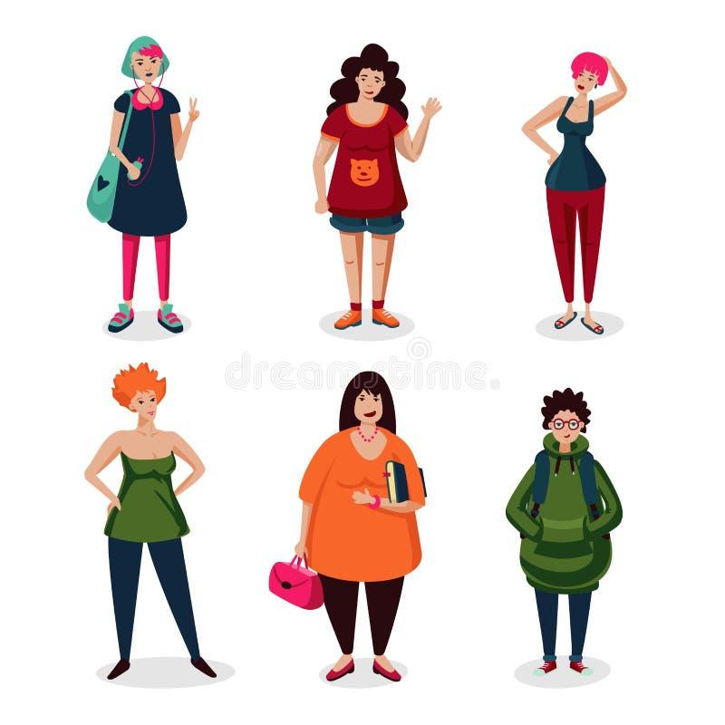 Tägliche Frauen in der Freizeitkleidung Mädchenkarikaturzeichensatz lokalisiert auf Weiß Gewöhnliche Ikonensammlung der weibliche lizenzfreie abbildung