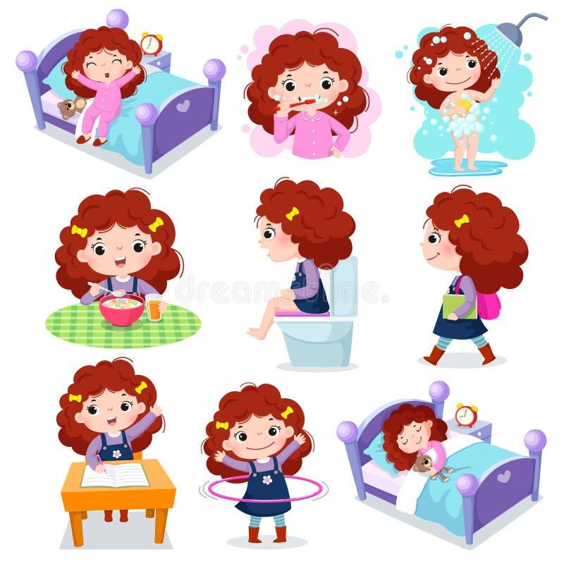 Tägliche Routinetätigkeiten für Kinder mit nettem Mädchen vektor abbildung