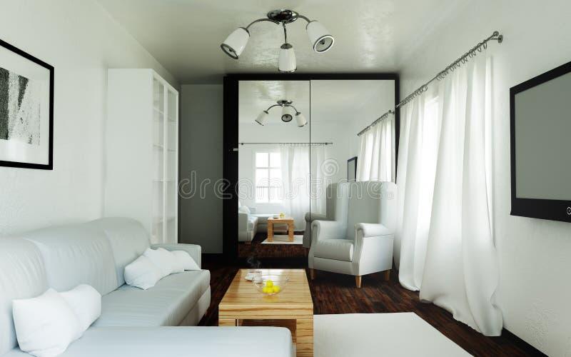 Täglicher, heller Innenraum des Wohnzimmers stockbilder