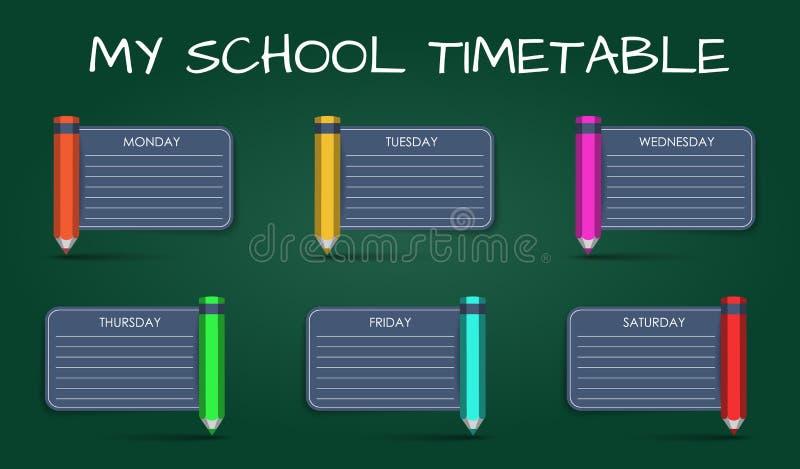 Täglicher Zeitplan der Schablone Schul stock abbildung