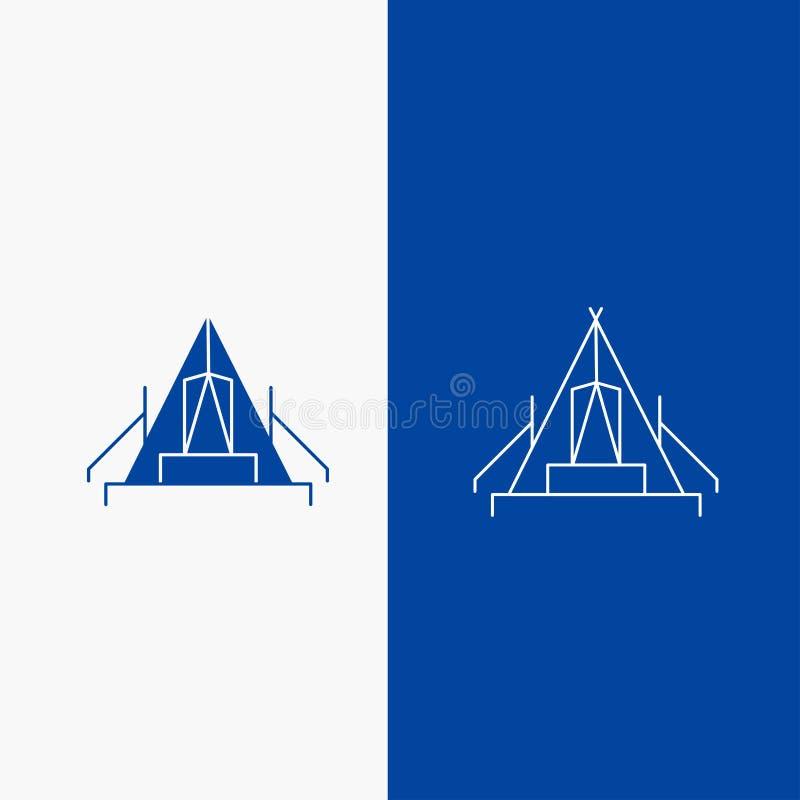 tält, campa, läger, campingplats, knapp för utomhus- linje- och skårarengöringsduk i det vertikala banret för blå färg för UI och royaltyfri illustrationer