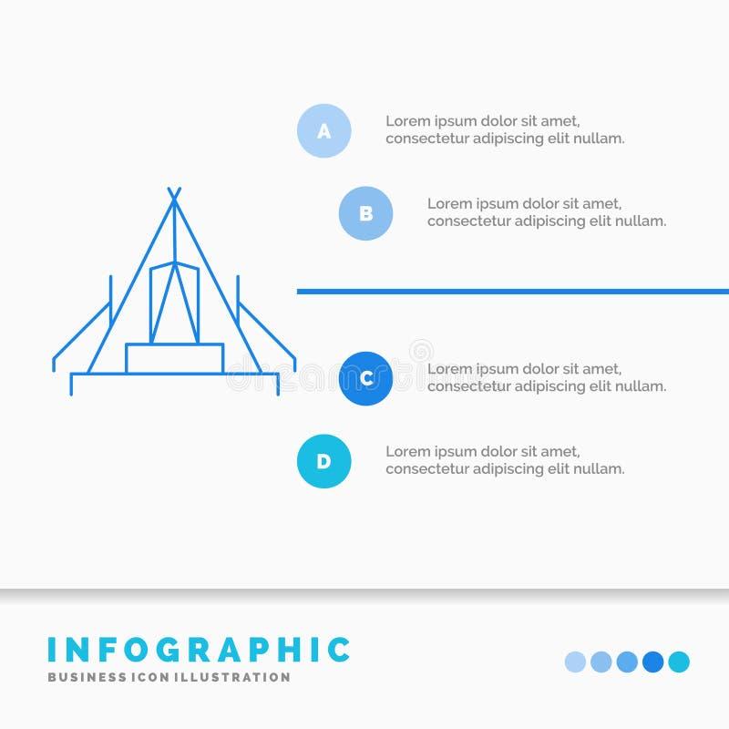 tält, campa, läger, campingplats, utomhus- Infographics mall för Website och presentation Linje infographic stilvektor f?r bl? sy vektor illustrationer