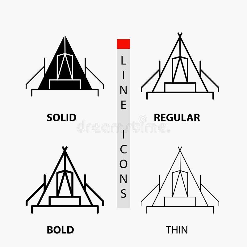 tält, campa, läger, campingplats, utomhus- symbol i tunn, vanlig djärv linje och skårastil ocks? vektor f?r coreldrawillustration royaltyfri illustrationer