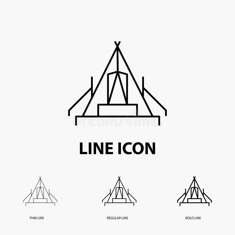 tält, campa, läger, campingplats, utomhus- symbol i tunt, stamgäst och djärv linje stil ocks? vektor f?r coreldrawillustration vektor illustrationer