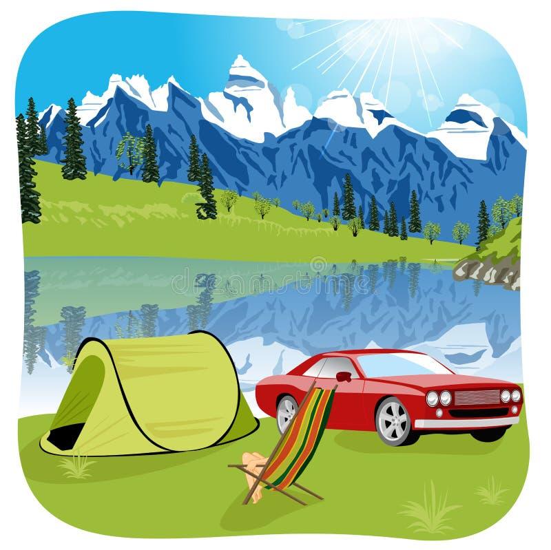 Tält campa turist- expedition för sjöberg royaltyfri illustrationer
