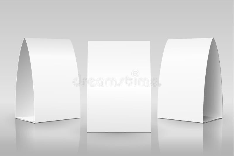 Tält för tom tabell som isoleras på grå bakgrund Pappers- vertikala kort på vit bakgrund med reflexioner royaltyfri illustrationer