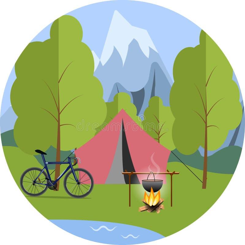 Tält i träna, en cykel och en kruka på branden royaltyfri illustrationer