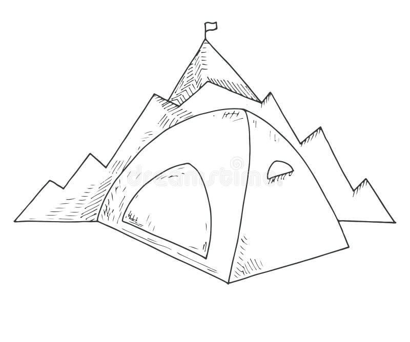Tält mot bakgrunden av berg Navigeringtecken Emblem campa för logoberg Hand dragen vektorillustration av en sket royaltyfri illustrationer