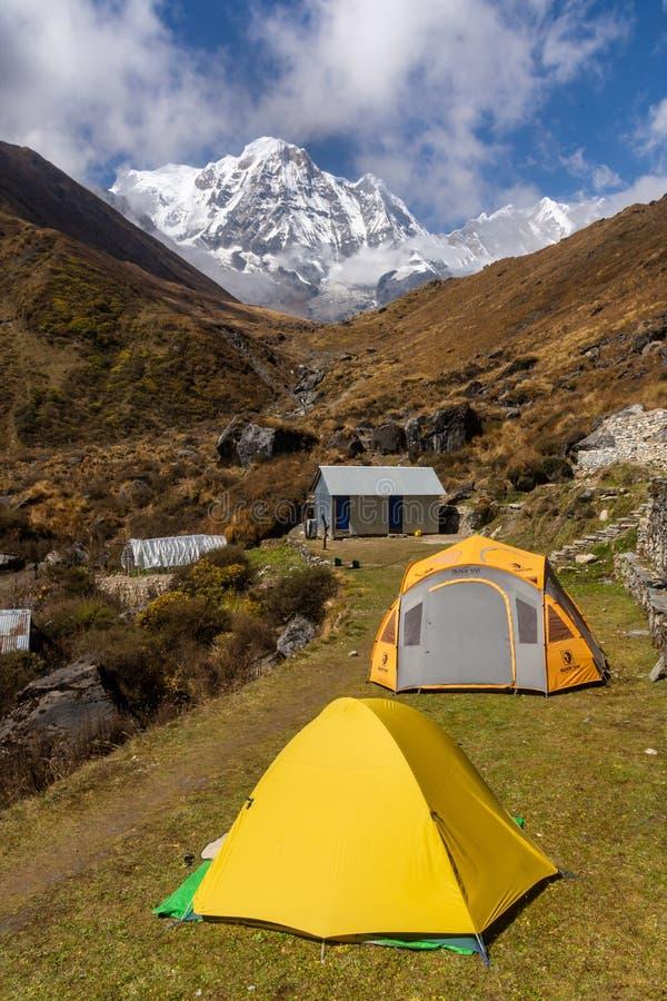 Tält på gräs i den Machapuchare basläger med bakgrund av Annapurna det södra berget fotografering för bildbyråer