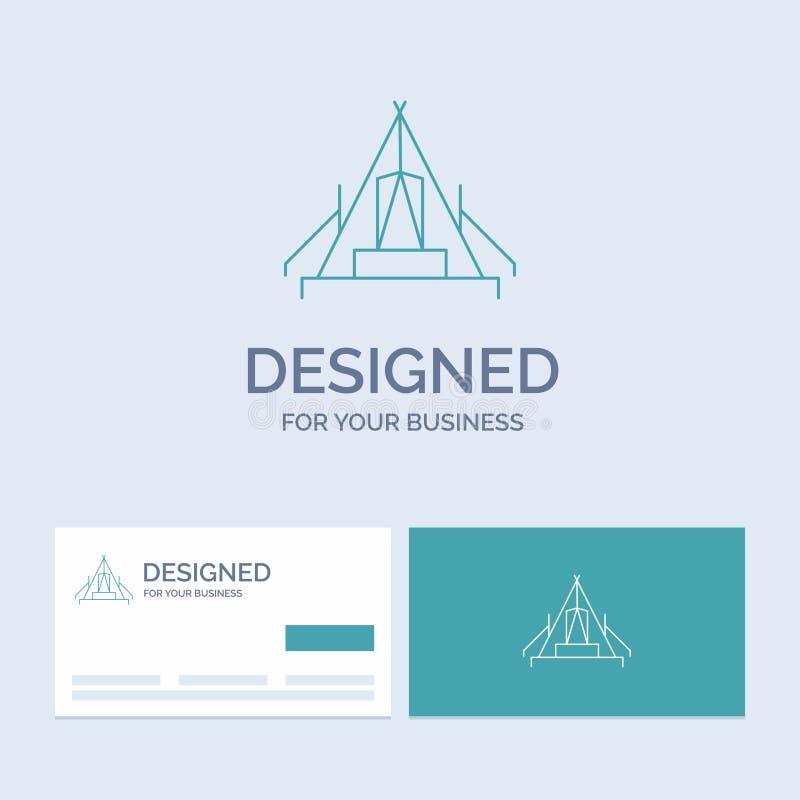 tält som campar, läger, campingplats, utomhus- affär Logo Line Icon Symbol för din affär Turkosaff?rskort med m?rkeslogo stock illustrationer