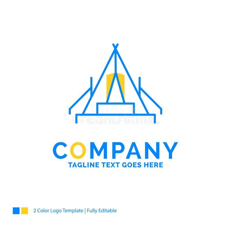 tält som campar, läger, campingplats, utomhus- blå gul affärslogo vektor illustrationer