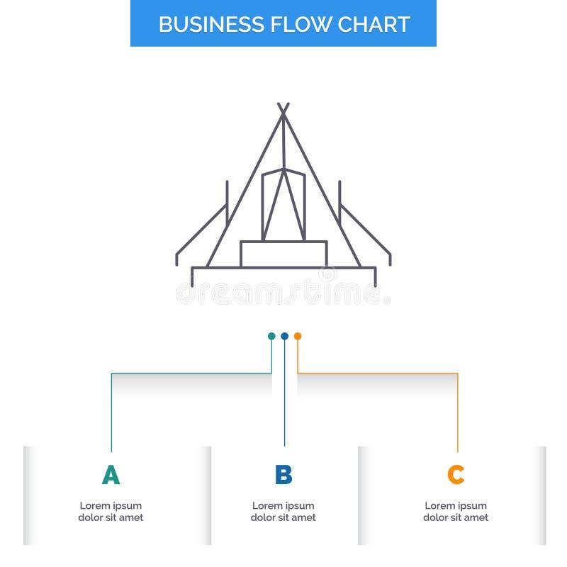 tält som campar, läger, campingplats, utomhus- design för affärsflödesdiagram med 3 moment Linje symbol f?r presentationsbakgrund vektor illustrationer