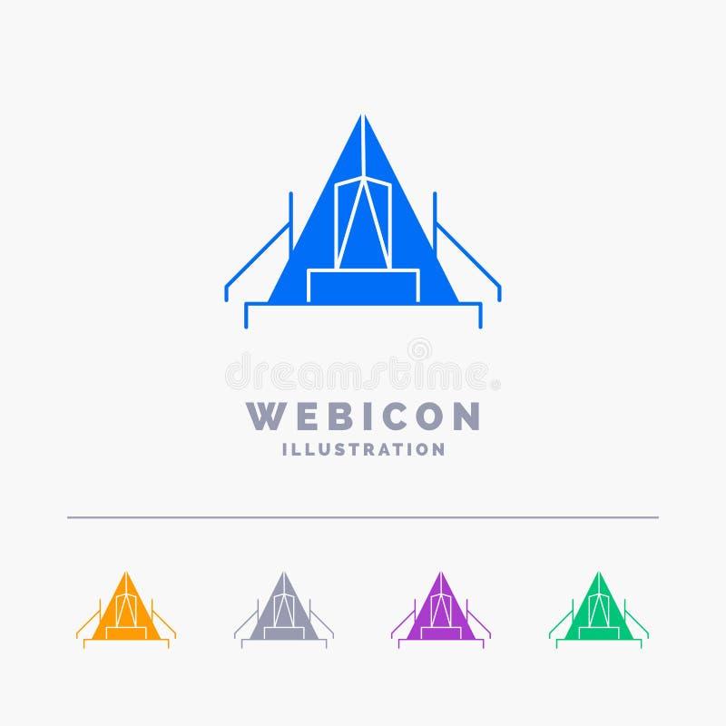tält som campar, läger, campingplats, utomhus- för skårarengöringsduk för 5 färg som mall för symbol isoleras på vit ocks? vektor royaltyfri illustrationer