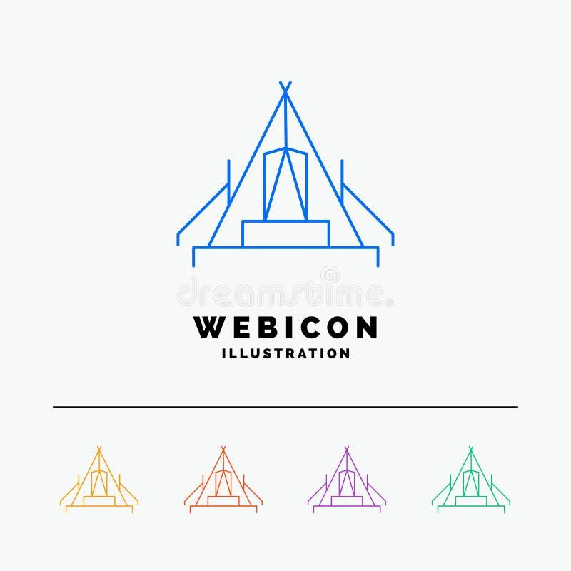 tält som campar, läger, campingplats, utomhus- linje för färg 5 rengöringsduksymbolsmall som isoleras på vit ocks? vektor f?r cor stock illustrationer