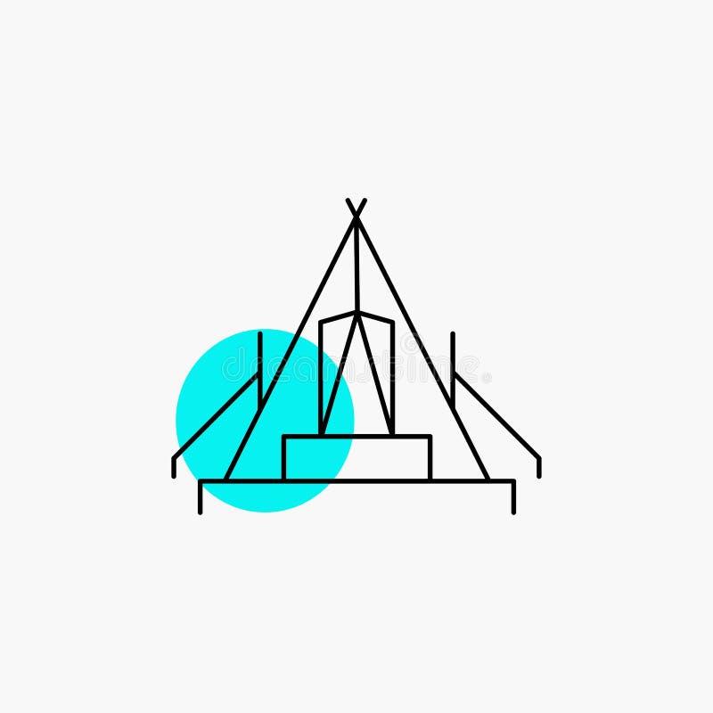 tält som campar, läger, campingplats, utomhus- linje symbol stock illustrationer