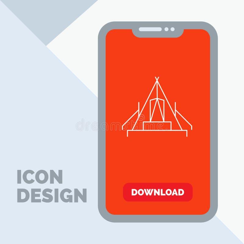 tält som campar, läger, campingplats, utomhus- linje symbol i mobilen för nedladdningsida royaltyfri illustrationer