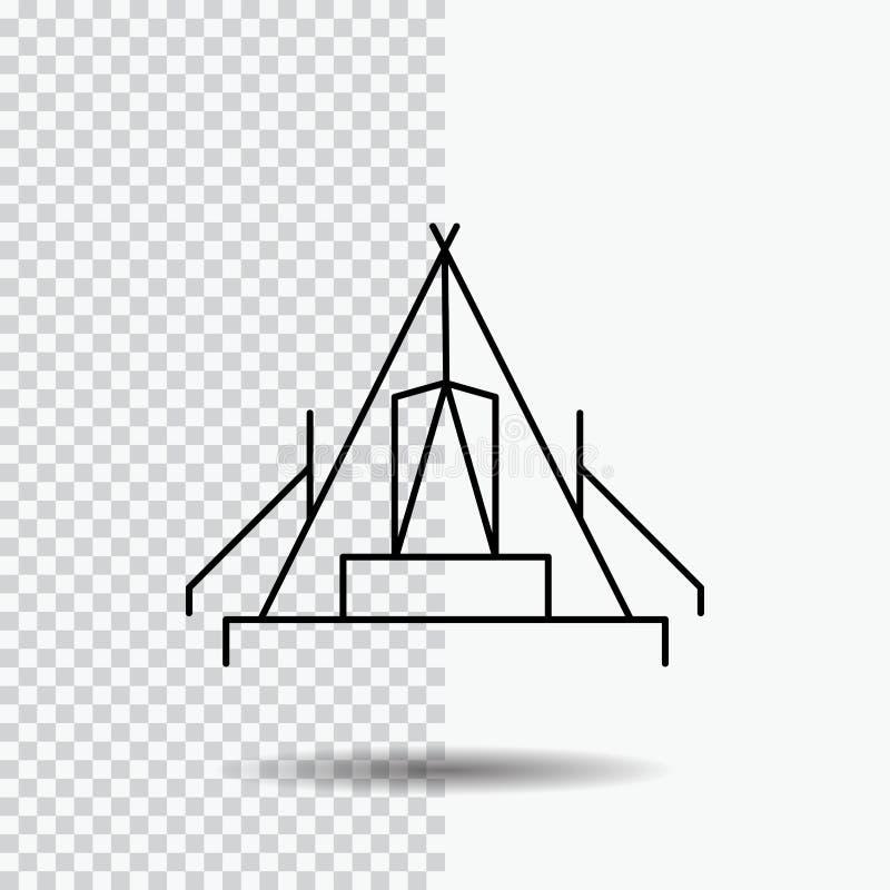 tält som campar, läger, campingplats, utomhus- linje symbol på genomskinlig bakgrund Svart symbolsvektorillustration stock illustrationer