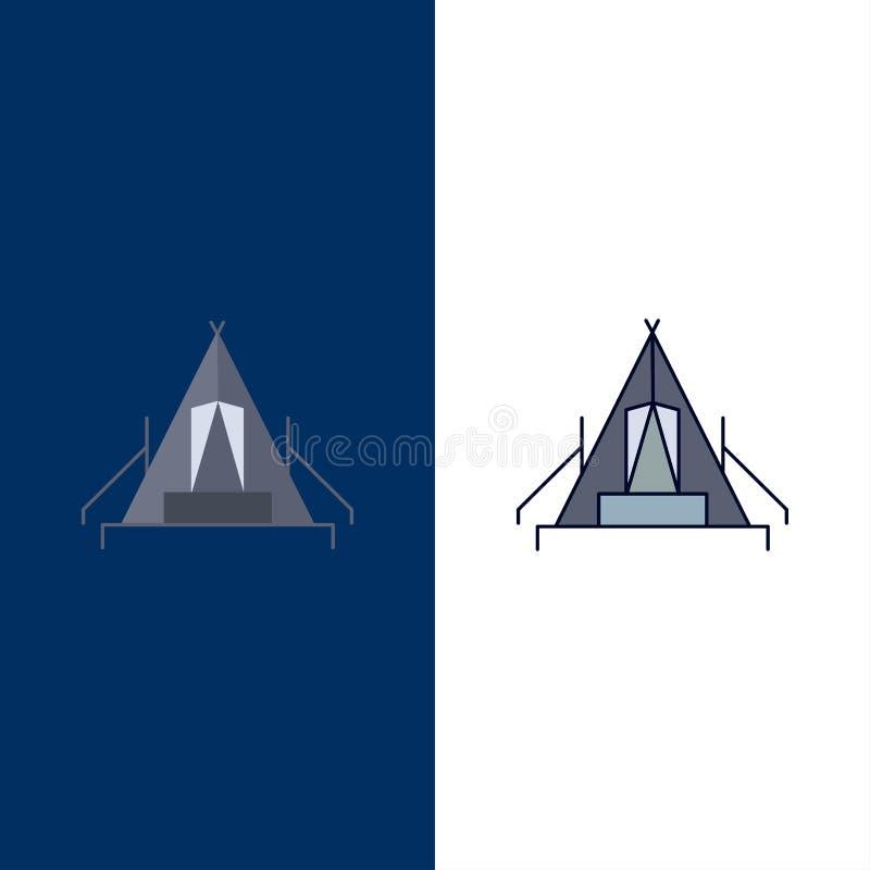 tält som campar, läger, campingplats, utomhus- plan färgsymbolsvektor stock illustrationer