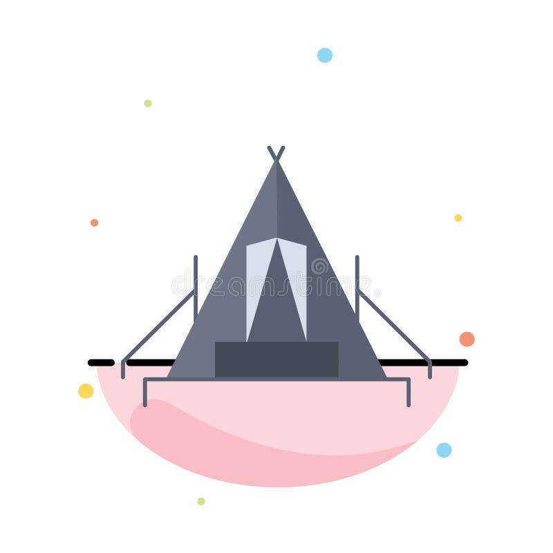 tält som campar, läger, campingplats, utomhus- plan färgsymbolsvektor royaltyfri illustrationer