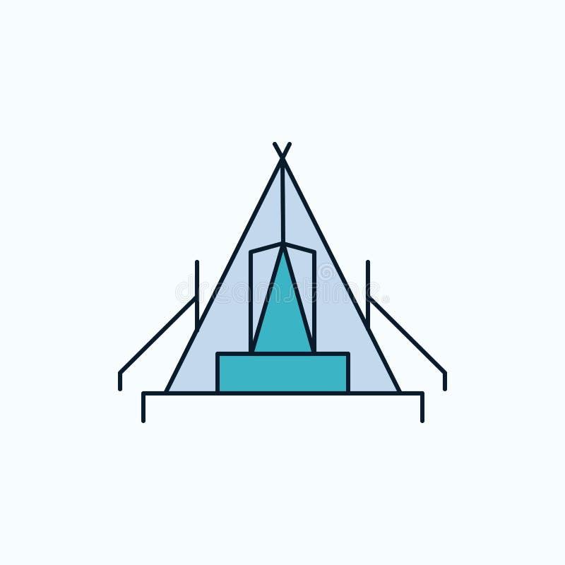 tält som campar, läger, campingplats, utomhus- plan symbol gr?nt och gult tecken och symboler f?r website och mobil appliation ve royaltyfri illustrationer