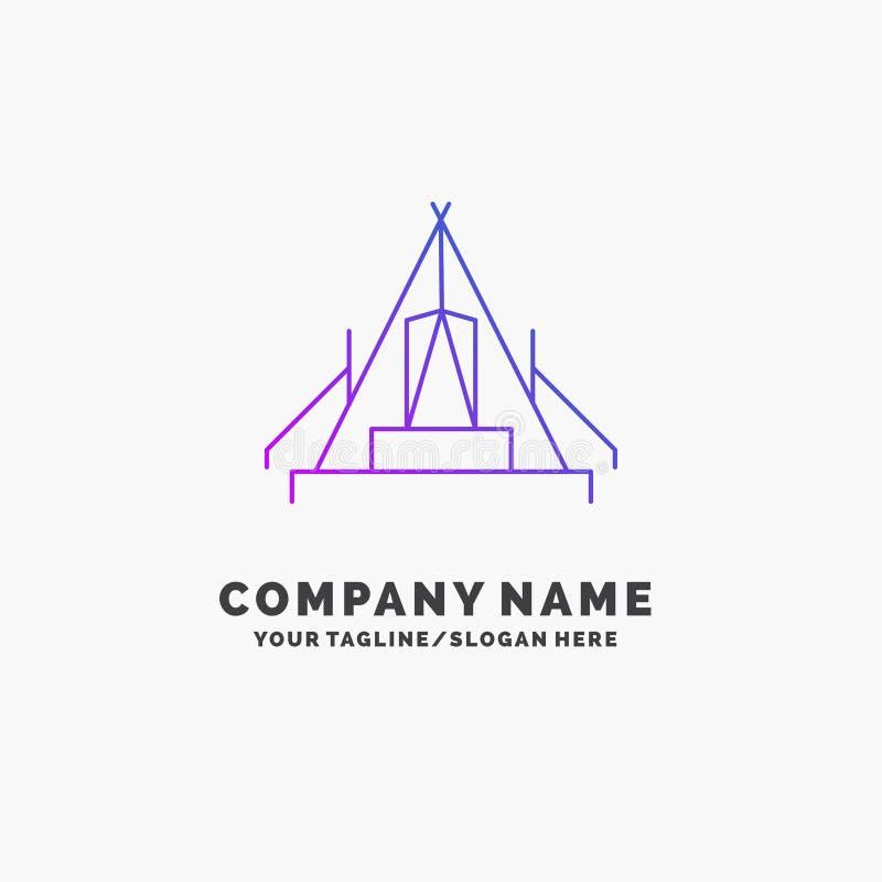 tält som campar, läger, campingplats, utomhus- purpurfärgad affär Logo Template St?lle f?r Tagline stock illustrationer